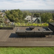 The rooftop garden's decking is made of ipe