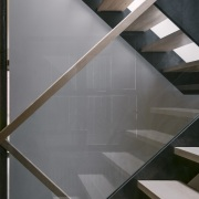 The riserless design of the stairs admits the