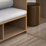 The finely-finished custom furniture was the work of