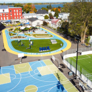 The school's newly delineated active sports zones.