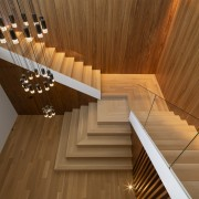 The beautiful play of wood surfaces has a