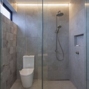 Glass toilet and shower stall surrounds add to