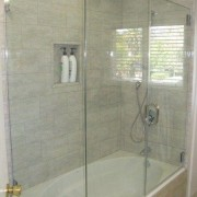 You can also use a shower enclosure to bathroom, glass, plumbing fixture, shower, tile, gray