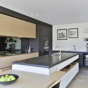 The breakfast bar seamlessly integrates with the large