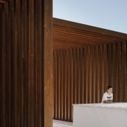 Another view of the materials used in the architecture, daylighting, facade, house, line, siding, wall, wood, wood stain, brown
