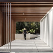 A perfectly balanced walkway - architecture | daylighting architecture, daylighting, facade, house, line, structure, red