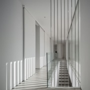 Clever design allows for interesting shadows - architecture architecture, black and white, daylighting, glass, handrail, house, line, stairs, structure, gray