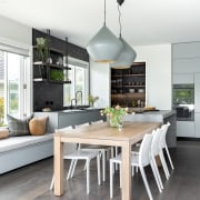 Tom Dixon Beat pendant lamps over the dining