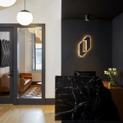 A refined reception area welcomes guests and clients