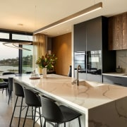 The kitchen looks out to the dining area