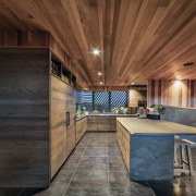 The warm look of wood ceilings and wood brown
