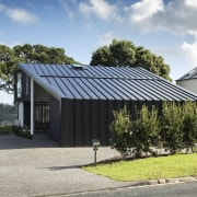 To create complete privacy from the street and cottage, facade, farmhouse, home, house, property, real estate, residential area, roof, shed, gray