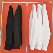 Photo shows the Ambos' Super Lift Wardrobe Rail:14-20kg closet, clothes hanger, outerwear, room, red, white