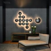 Dramatic Italian light fixtures are a feature on