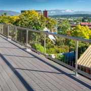 As Stunning As The Views This Terrain Deck boardwalk, deck, guard rail, handrail, outdoor structure, property, real estate, residential area, roof, walkway, gray