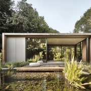 The meditation pavilion looks peacefully at home in