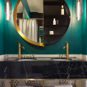 Colours were deliberately chosen to inject fresh life bathroom, ceiling, countertop, home, interior design, lighting, room, table, black, teal