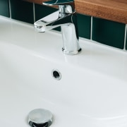 The modern basin chrome mixer ideally complements the