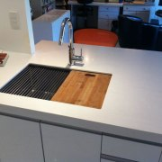 Sink: Bestline Kitchens 2 Medium Sink Station, with countertop, furniture, kitchen, table, gray