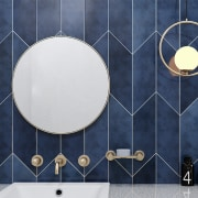 Chevron tiles create a feature wall finish in