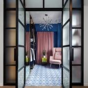 Closet in Lim+Lu's apartment - The layout of door, furniture, interior design, gray