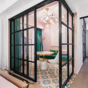 Equipping the space with suspended glass and black ceiling, door, floor, glass, interior design, wall, window, gray