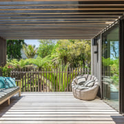 The outdoor room creates what feels like an
