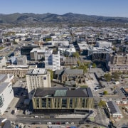 Christchurch Central Library – a celebration of culture aerial photography, bird's eye view, building, city, cityscape, daytime, downtown, metropolis, metropolitan area, neighbourhood, residential area, sky, skyline, suburb, tower block, urban area, gray