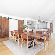 The home's dining table was custom designed while