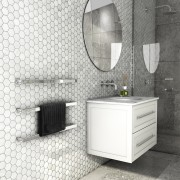 Dcs Bathroom Siroco Slim - angle | bathroom angle, bathroom, bathroom accessory, bathroom cabinet, black and white, ceramic, floor, flooring, interior design, product, sink, tap, tile, wall, white, gray