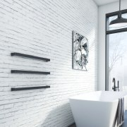 Dcs Brickwall Scene Curvestone Slim - angle | angle, bathroom, black and white, ceramic, floor, interior design, plumbing fixture, tap, tile, wall, white