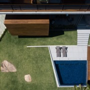 Looking down from above - architecture | backyard architecture, backyard, daylighting, facade, floor, grass, house, lawn, outdoor structure, real estate, roof, wood, brown