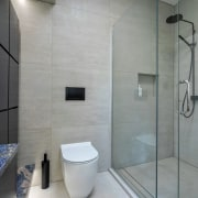 To accent the ensuite, feature strip lights were bathroom, interior design, plumbing fixture, room, tile, wall, gray