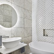 Dirty white / grey tiles were selected to