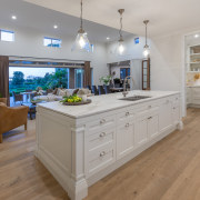 The kitchen is as practical in contemporary terms