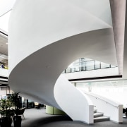 A double skin of curved plaster board creates