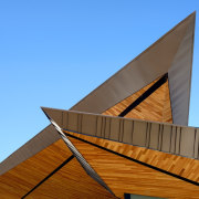 Dancing Light House Kendle Design Collaborative3 - angle angle, architecture, building, daylighting, facade, line, roof, sky, wood, teal, brown
