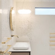 See more here bathroom, ceiling, daylighting, floor, interior design, lighting, plaster, room, tap, tile, wall, gray