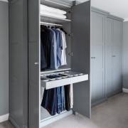 The master bedroom's bespoke wardrobes were designed so
