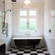 Family Bathroom 3 architecture, bathroom, ceiling, daylighting, floor, flooring, home, interior design, room, sink, tile, gray, white