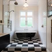 Family Bathroom 4 bathroom, ceiling, floor, flooring, home, interior design, room, sink, tile, wood flooring, gray