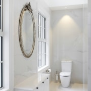 ​​​​​​​While this ensuite with double vanity has an architecture, bathroom, floor, flooring, tiles, marble, plumbing fixture, tap, tile, ensuite, gray, Ingrid Geldof Design