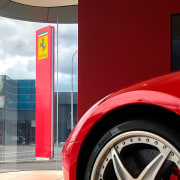 Ferrari Showroom 1 - alloy wheel | auto alloy wheel, auto part, automotive design, automotive exterior, automotive lighting, automotive tire, automotive wheel system, car, fender, mode of transport, motor vehicle, red, rim, tire, vehicle, vehicle door, wheel, red