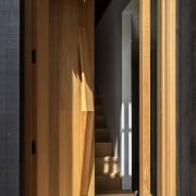 In a home that celebrates wood, the front