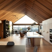 The soaring timber ceiling made possible by the