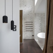 Brown drapes, timber floors and a metal look gray