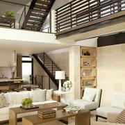 A steel bridge between upstairs spaces is pleasing