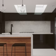 Timber elements were introduced to create a natural architecture, cabinetry, ceiling, countertop, floor, furniture, interior design, kitchen, light fixture, sink, table, tap, wall, gray