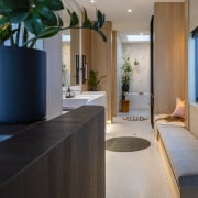 The long, linear master ensuite ,with the bedroom's