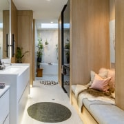 The master ensuite includes seating complete with built-in